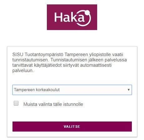 HAKA-kirjautumisen organisaatiovalikko
