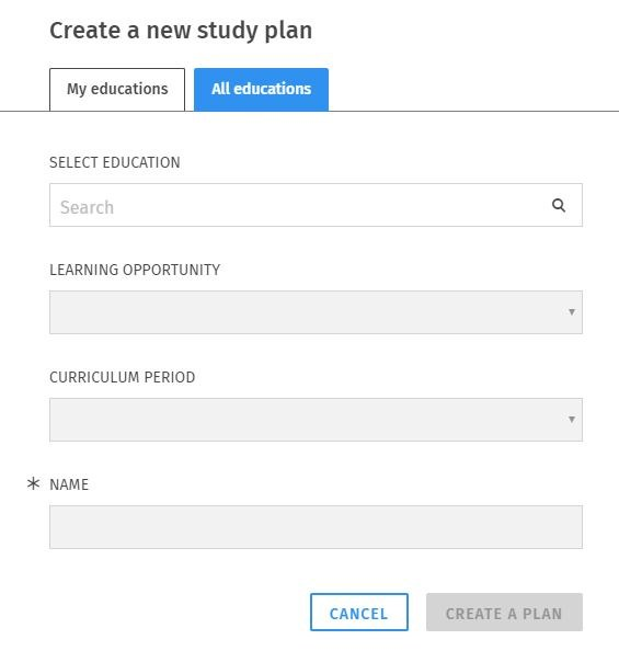 Personal study plan pop-up window in Sisu